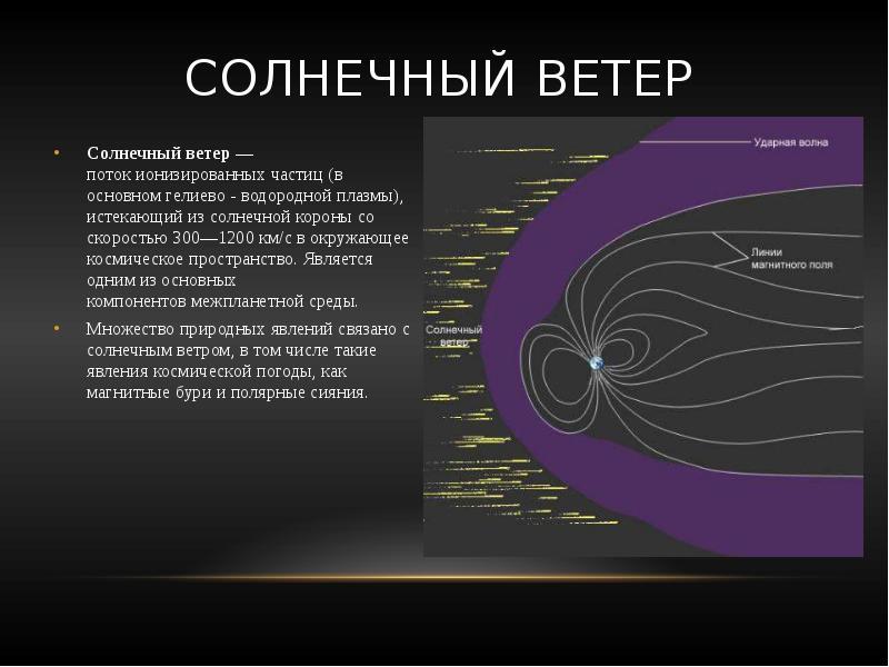 Солнечный ветер Солнечный ветер — поток ионизированных частиц (в основном гелиево - водородной плазм