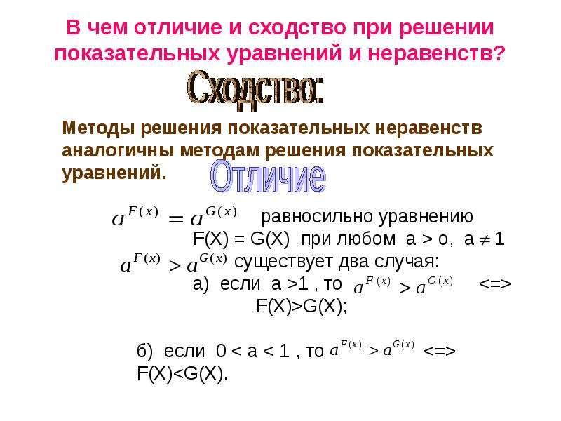 В чем отличие и сходство при решении показательных уравнений и неравенств?