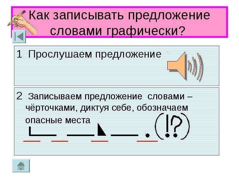 Как записывать предложение словами графически?