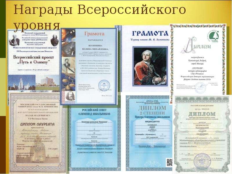 Награды Всероссийского уровня