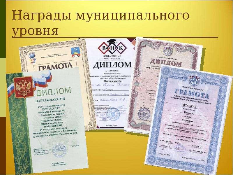 Награды муниципального уровня