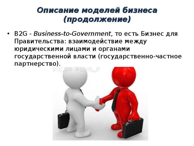 Описание моделей бизнеса (продолжение) B2G - Business-to-Government, то есть Бизнес для Правительств