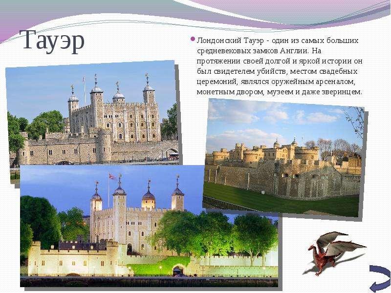 Тауэр Лондонский Тауэр - один из самых больших средневековых замков Англии. На протяжении своей долг