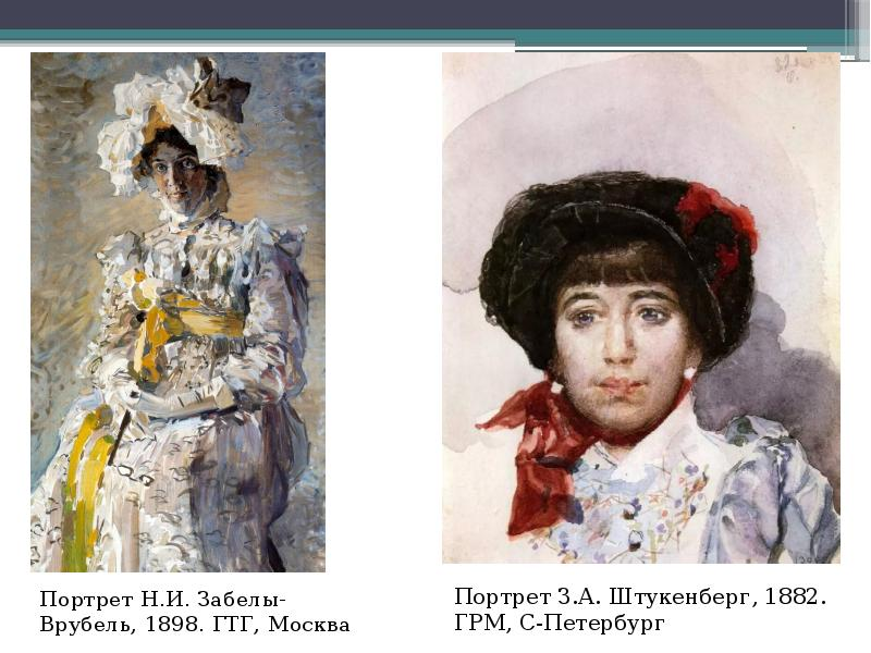 Портрет Н. И. Забелы-Врубель, 1898. ГТГ, Москва