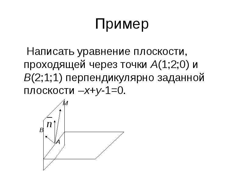 Пример Написать уравнение плоскости, проходящей через точки А(1;2;0) и В(2;1;1) перпендикулярно зада