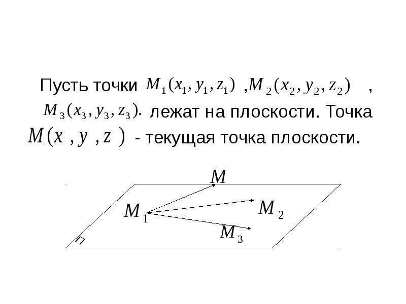 Уравнение плоскости, проходящей через три точки Пусть точки , , лежат на плоскости. Точка - текущая