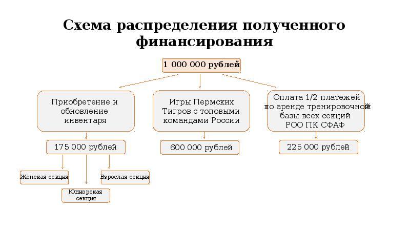 Схема распределения полученного финансирования