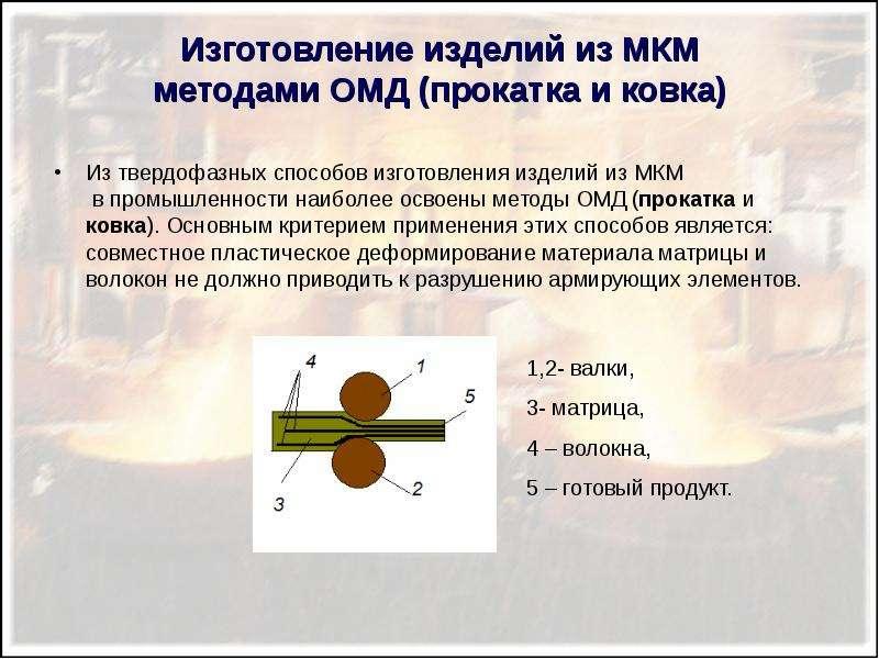 Изготовление изделий из МКМ методами ОМД (прокатка и ковка) Из твердофазных способов изготовления из
