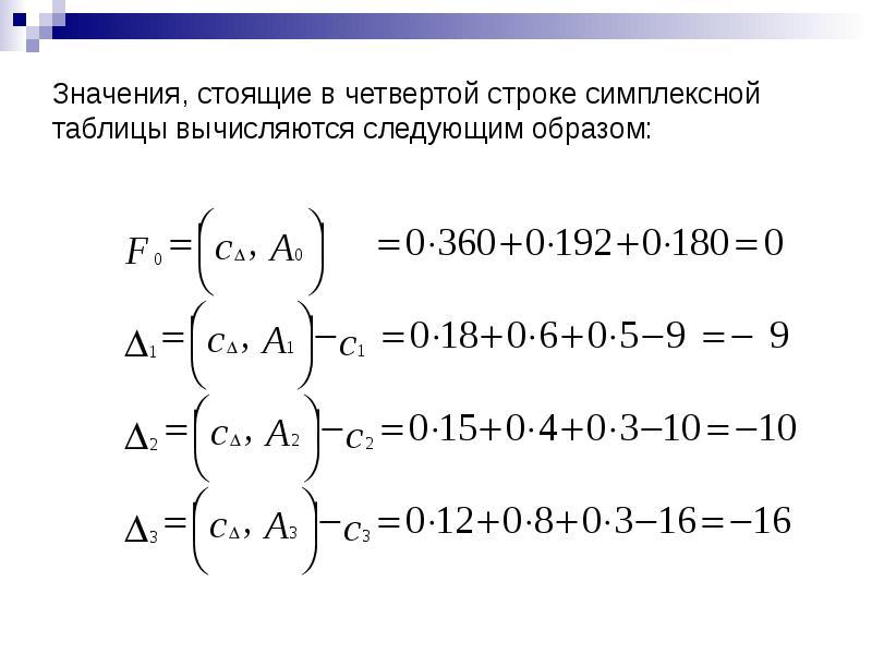 Значения, стоящие в четвертой строке симплексной таблицы вычисляются следующим образом: