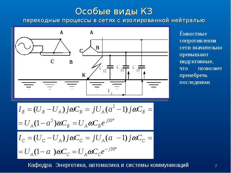 Особые виды КЗ переходные процессы в сетях с изолированной нейтралью