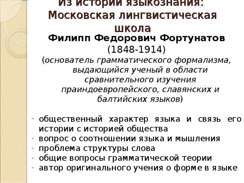 Из истории языкознания: Московская лингвистическая школа Филипп Федорович Фортунатов (1848-1914) (ос