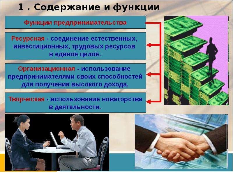 1 . Содержание и функции предпринимательства