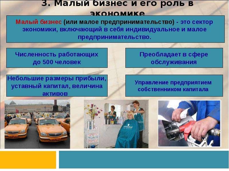 3. Малый бизнес и его роль в экономике