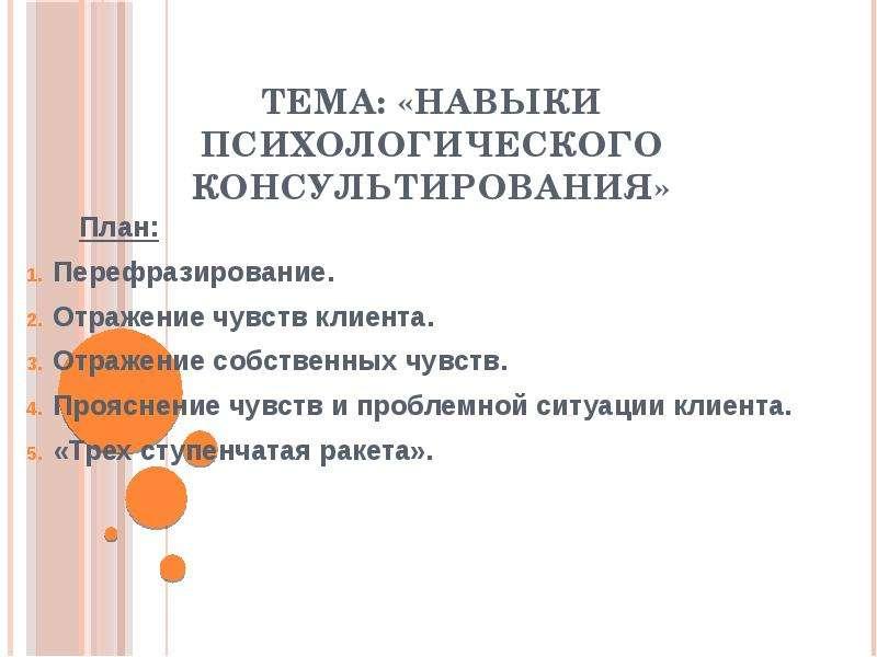 Презентация Навыки психологического консультирования