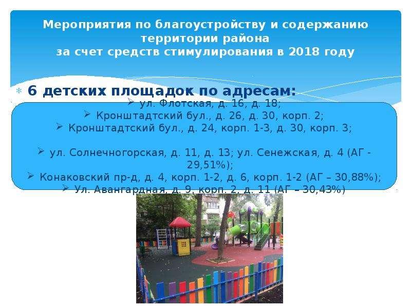 Мероприятия по благоустройству и содержанию территории района за счет средств стимулирования в 2018