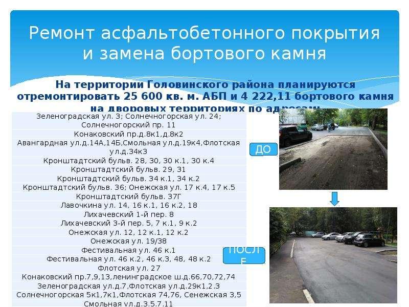 Ремонт асфальтобетонного покрытия и замена бортового камня На территории Головинского района планиру