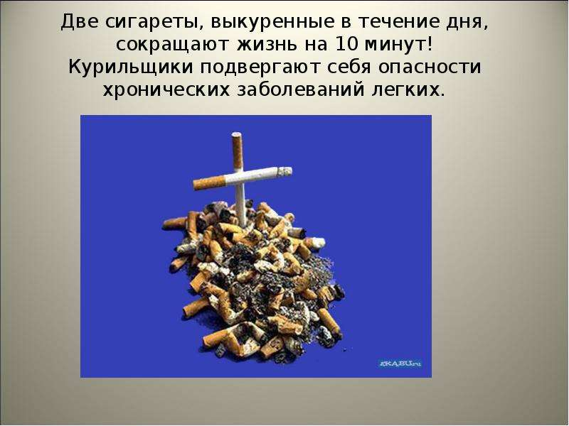 Две сигареты, выкуренные в течение дня, сокращают жизнь на 10 минут! Курильщики подвергают себя опас