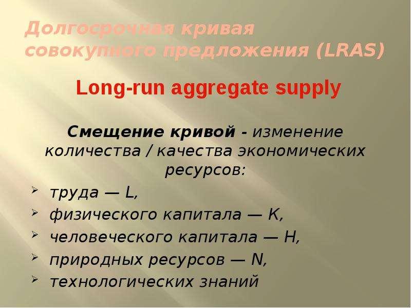 Долгосрочная кривая совокупного предложения (LRAS) Long-run aggregate supply Смещение кривой - измен