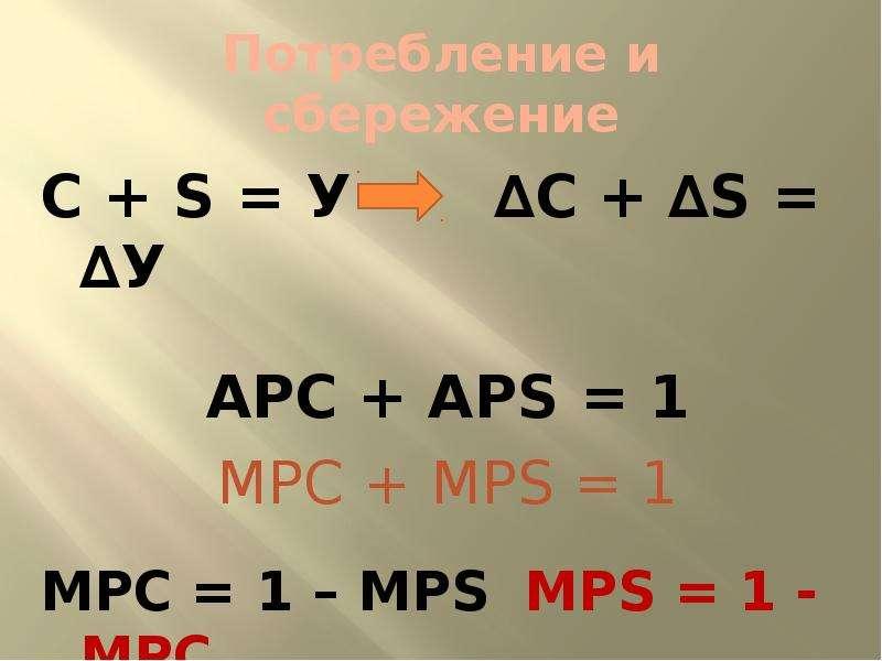 Потребление и сбережение С + S = У ∆С + ∆S = ∆У АРС + АPS = 1 МРС + МРS = 1 МРС = 1 – МРS МРS = 1 -