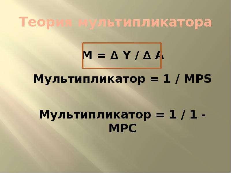 Теория мультипликатора M = ∆ Y / ∆ A Мультипликатор = 1 / MPS Мультипликатор = 1 / 1 - MPC