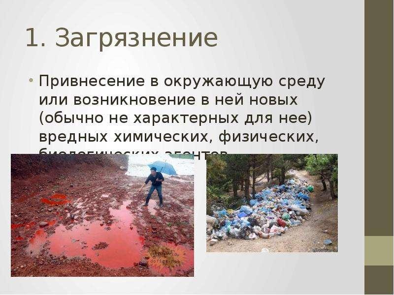 1. Загрязнение Привнесение в окружающую среду или возникновение в ней новых (обычно не характерных д