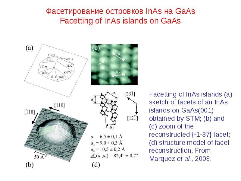 Фасетирование островков InAs на GaAs Facetting of InAs islands on GaAs