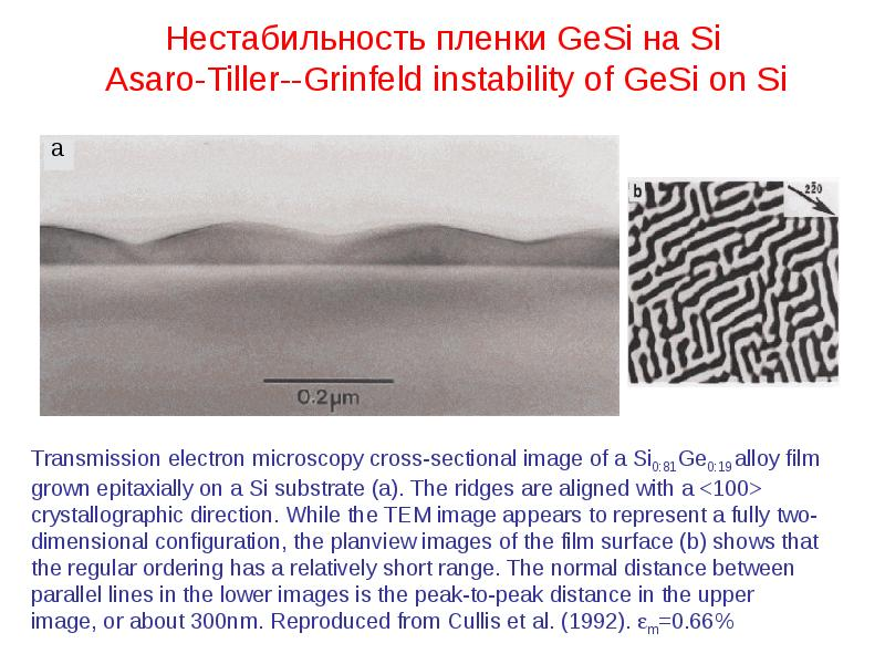 Нестабильность пленки GeSi на Si Asaro-Tiller--Grinfeld instability of GeSi on Si
