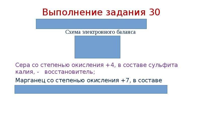 Выполнение задания 30 Схема электронного баланса Сера со степенью окисления +4, в составе сульфита к