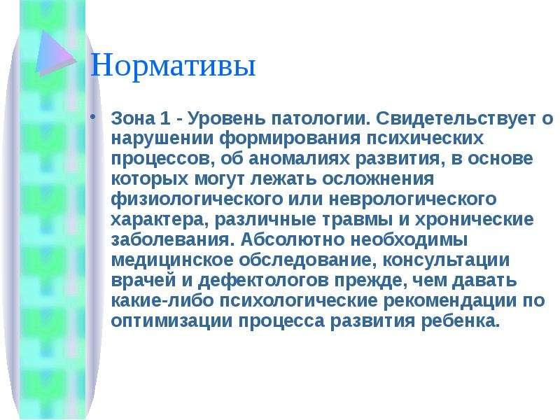 Нормативы Зона 1 - Уровень патологии. Свидетельствует о нарушении формирования психических процессов