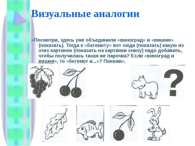 Визуальные аналогии «Посмотри, здесь уже объединили «виноград» и «вишню» (показать). Тогда к «бегемо