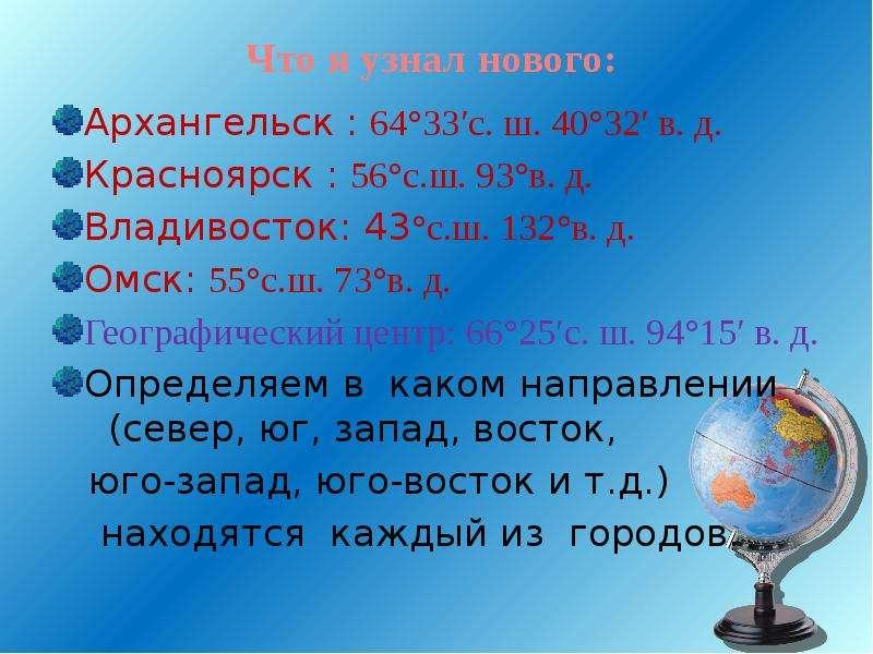 Что я узнал нового: Архангельск : 64°33′с. ш. 40°32′ в. д. Красноярск : 56°с. ш. 93°в. д. Владивосто