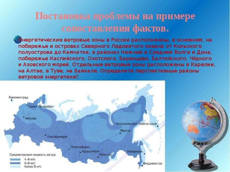 Постановка проблемы на примере сопоставления фактов. Энергетические ветровые зоны в России расположе