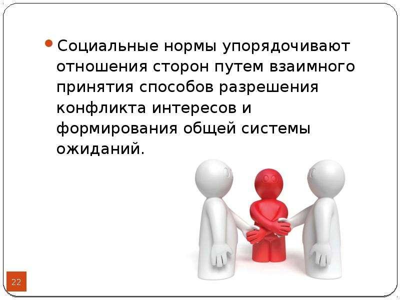 Социальные нормы упорядочивают отношения сторон путем взаимного принятия способов разрешения конфлик