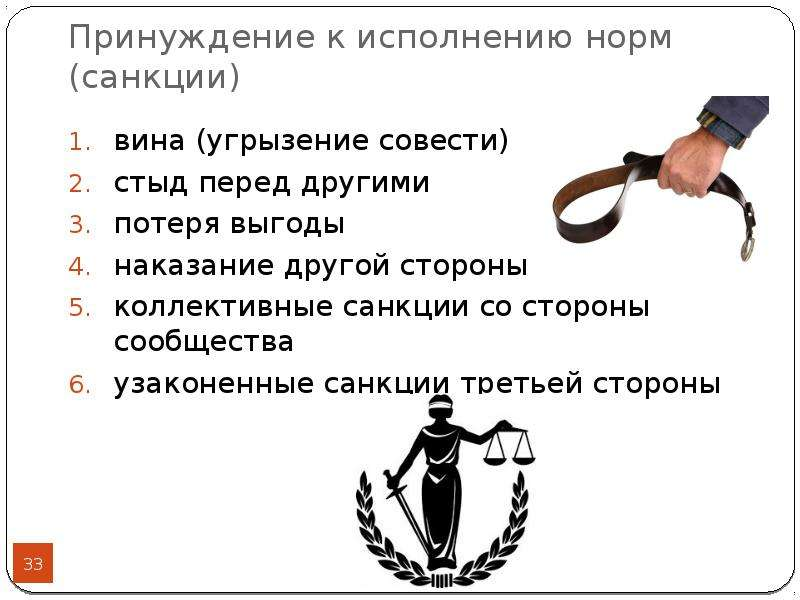 Принуждение к исполнению норм (санкции) вина (угрызение совести) стыд перед другими потеря выгоды на