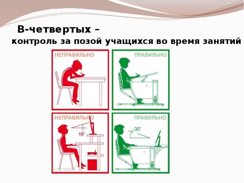 В-четвертых – контроль за позой учащихся во время занятий