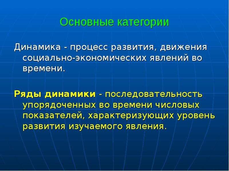 Основные категории Динамика - процесс развития, движения социально-экономических явлений во времени.