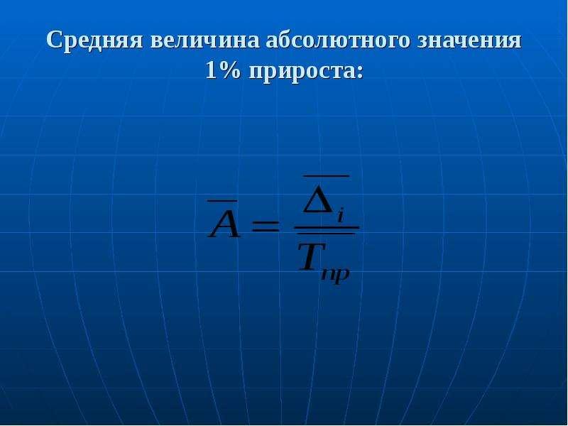 Средняя величина абсолютного значения 1% прироста: