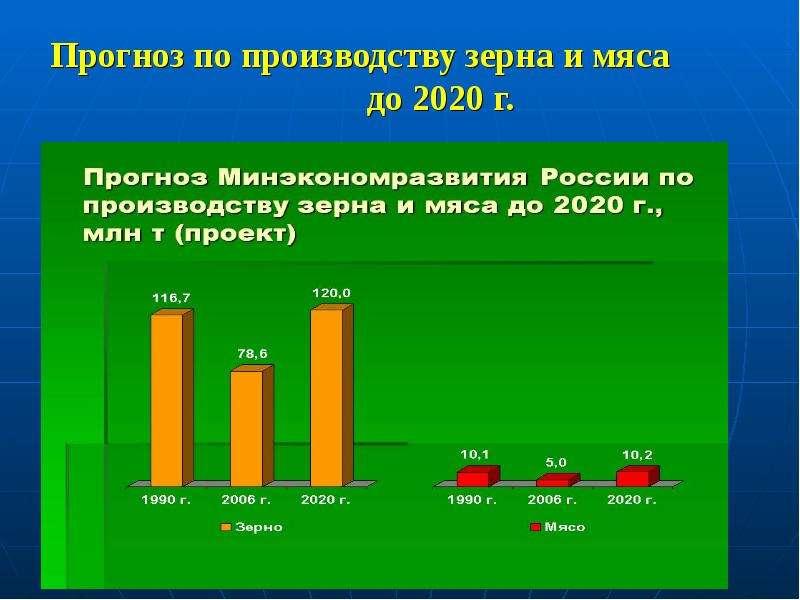 Прогноз по производству зерна и мяса до 2020 г.