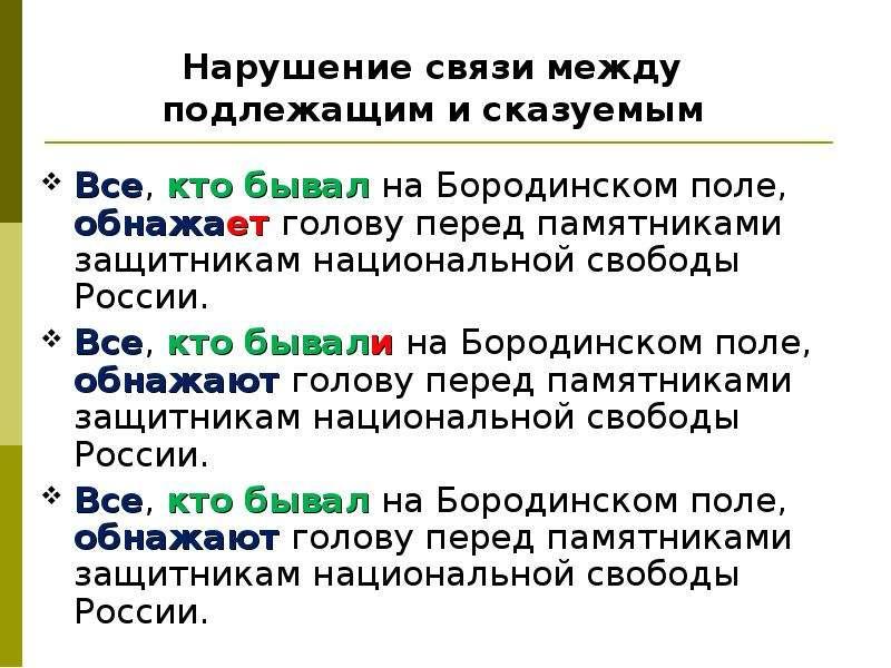 Нарушение связи между подлежащим и сказуемым Все, кто бывал на Бородинском поле, обнажает голову пер