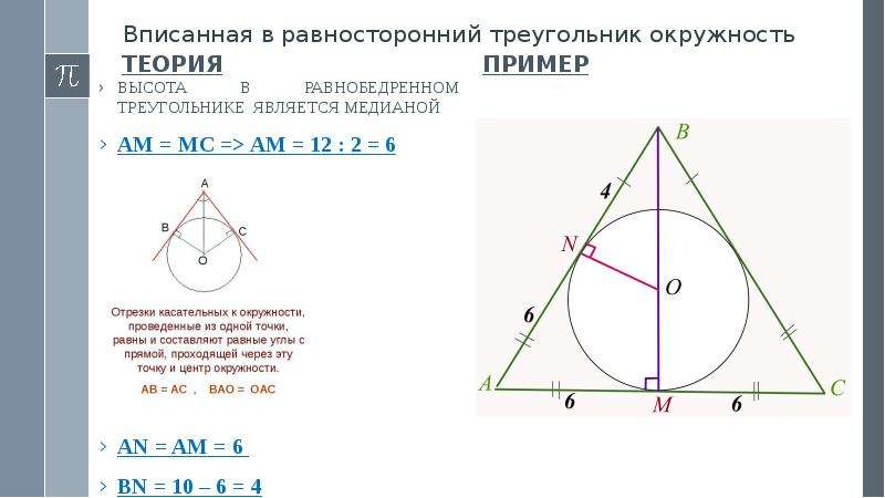 Вписанная в равносторонний треугольник окружность Теория