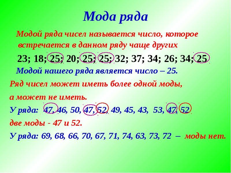 Мода ряда Модой ряда чисел называется число, которое встречается в данном ряду чаще других Модой наш