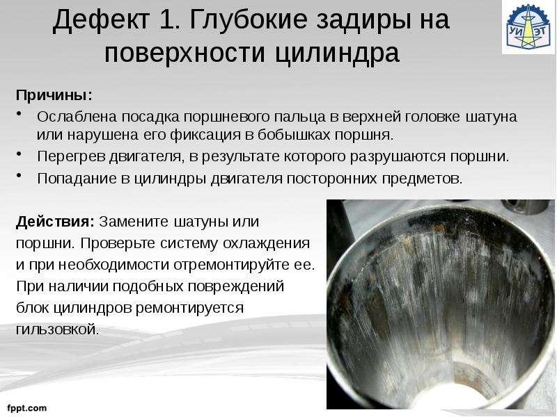 Дефект 1. Глубокие задиры на поверхности цилиндра Причины: Ослаблена посадка поршневого пальца в вер