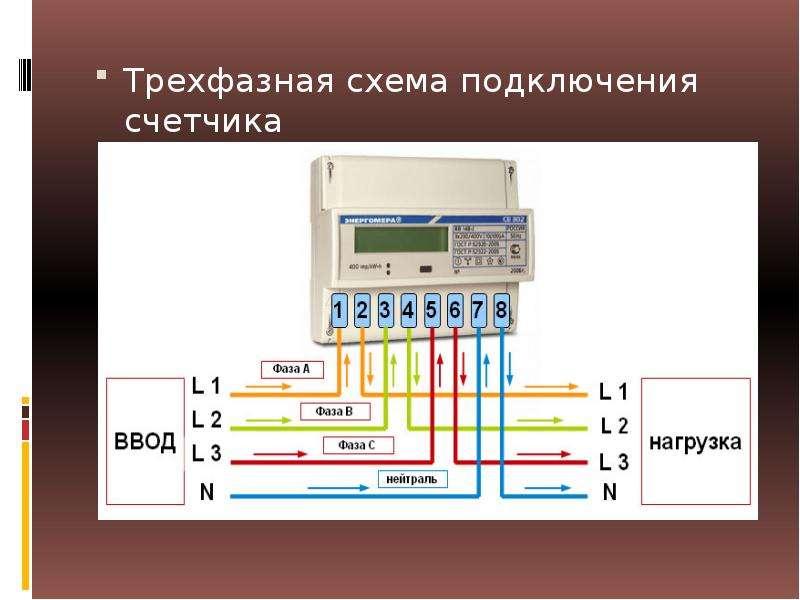 Трехфазная схема подключения счетчика Трехфазная схема подключения счетчика