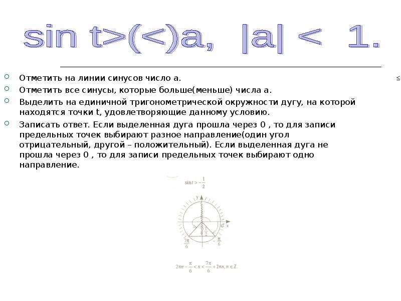 Отметить на линии синусов число а. Отметить на линии синусов число а. Отметить все синусы, которые б