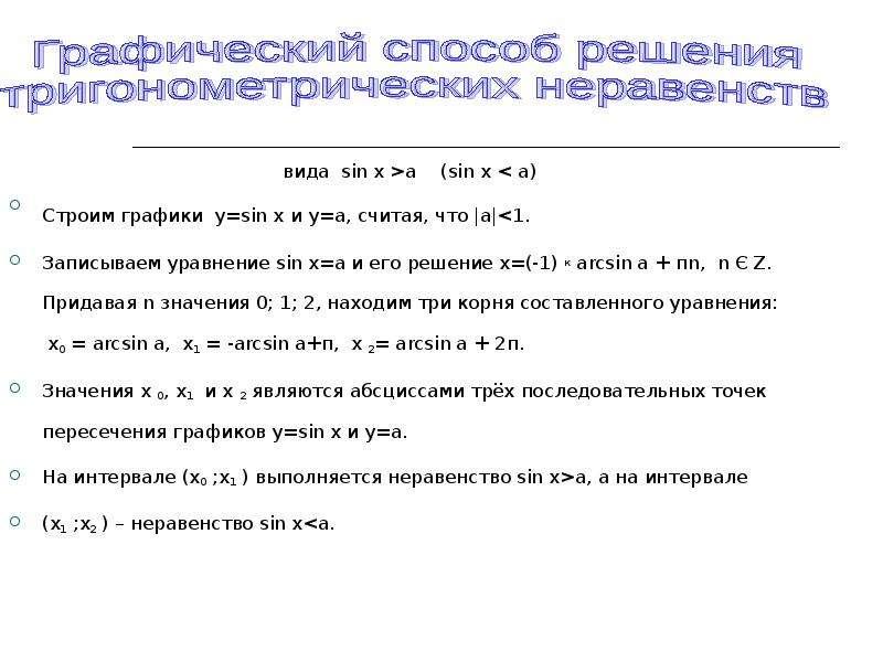 вида sin x >a (sin x < a) Строим графики y=sin x и y=a, считая, что  a <1. Записываем уравн