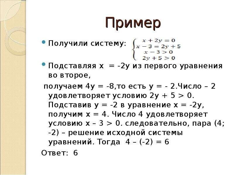 Пример Получили систему: Подставляя x = -2у из первого уравнения во второе, получаем 4y = -8,то есть