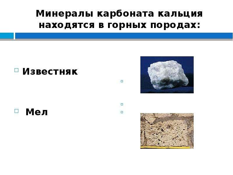 Минералы карбоната кальция находятся в горных породах: Известняк Мел