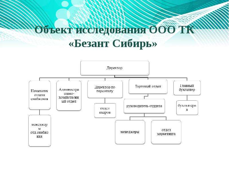 Объект исследования ООО ТК «Безант Сибирь»