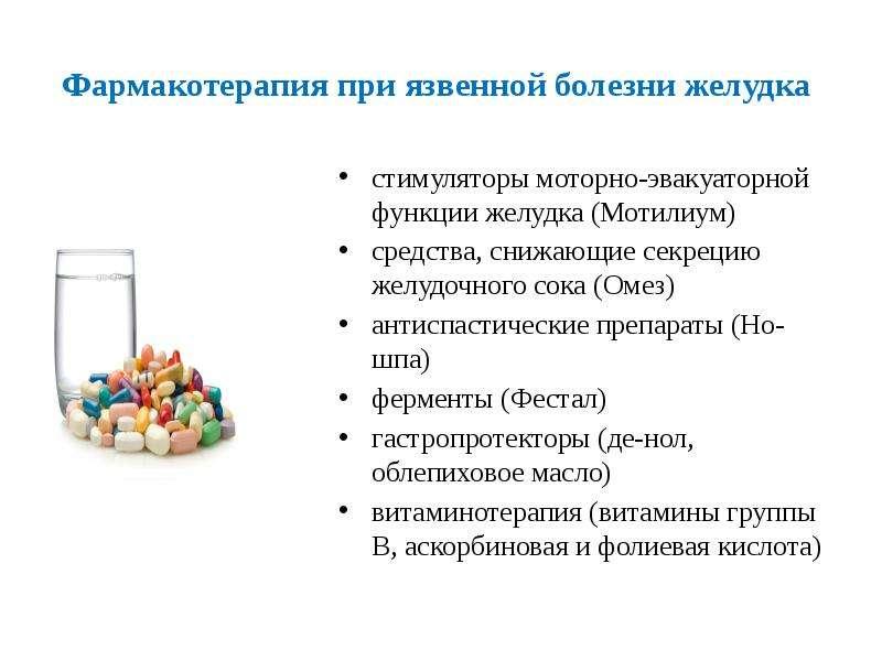 Фармакотерапия при язвенной болезни желудка стимуляторы моторно-эвакуаторной функции желудка (Мотили