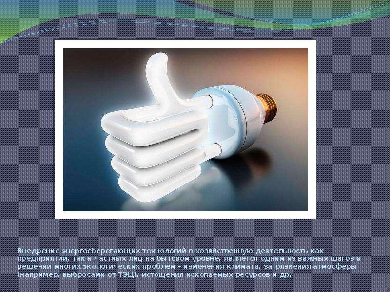 Внедрение энергосберегающих технологий в хозяйственную деятельность как предприятий, так и частных л